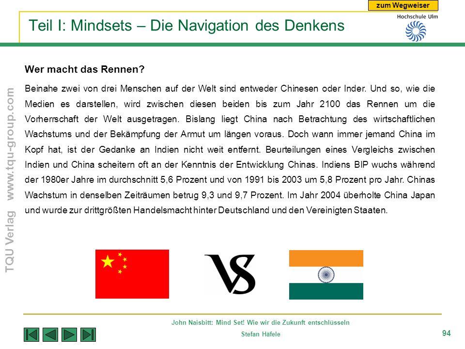 zum Wegweiser TQU Verlag www.tqu-group.com John Naisbitt: Mind Set! Wie wir die Zukunft entschlüsseln Stefan Häfele 94 Teil I: Mindsets – Die Navigati