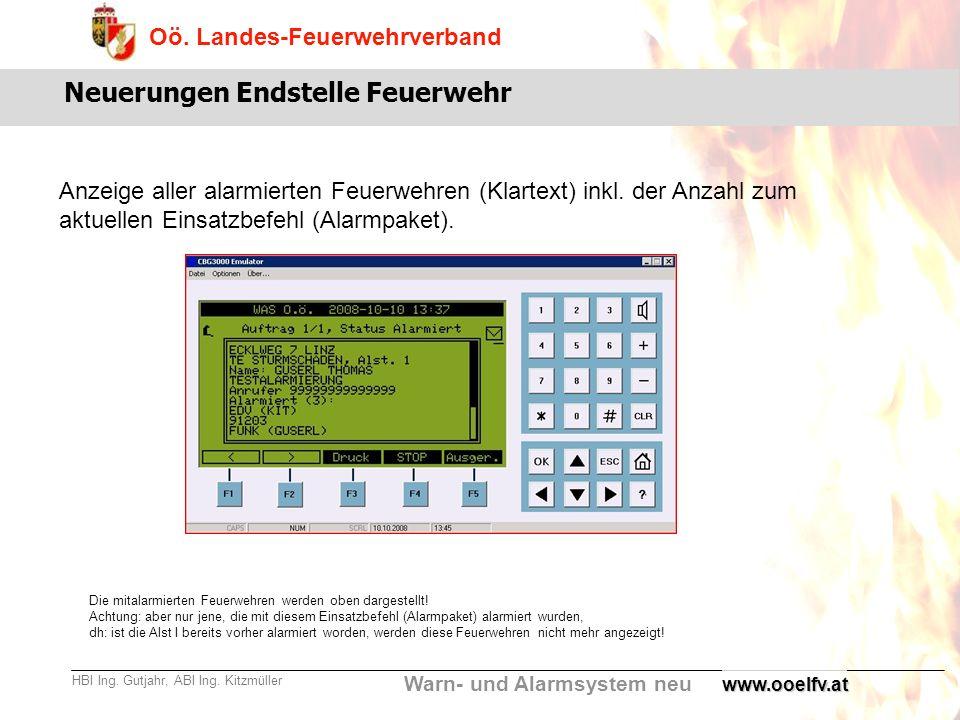 Warn- und Alarmsystem neu Oö. Landes-Feuerwehrverband HBI Ing. Gutjahr, ABI Ing. Kitzmüllerwww.ooelfv.at Neuerungen Endstelle Feuerwehr Anzeige aller
