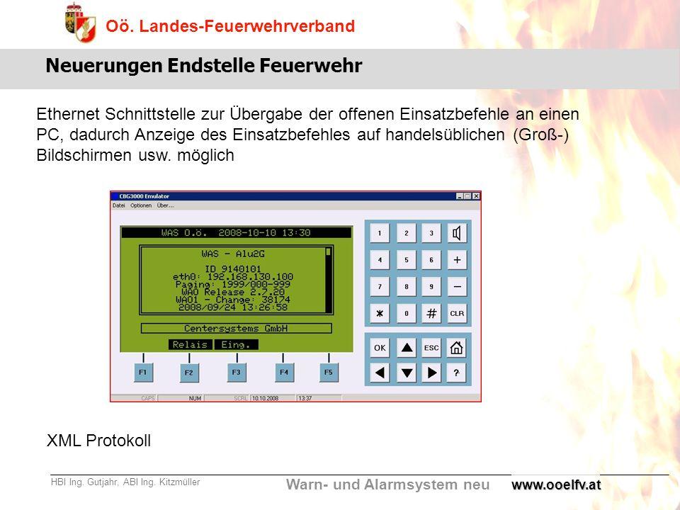 Warn- und Alarmsystem neu Oö. Landes-Feuerwehrverband HBI Ing. Gutjahr, ABI Ing. Kitzmüllerwww.ooelfv.at Neuerungen Endstelle Feuerwehr Ethernet Schni