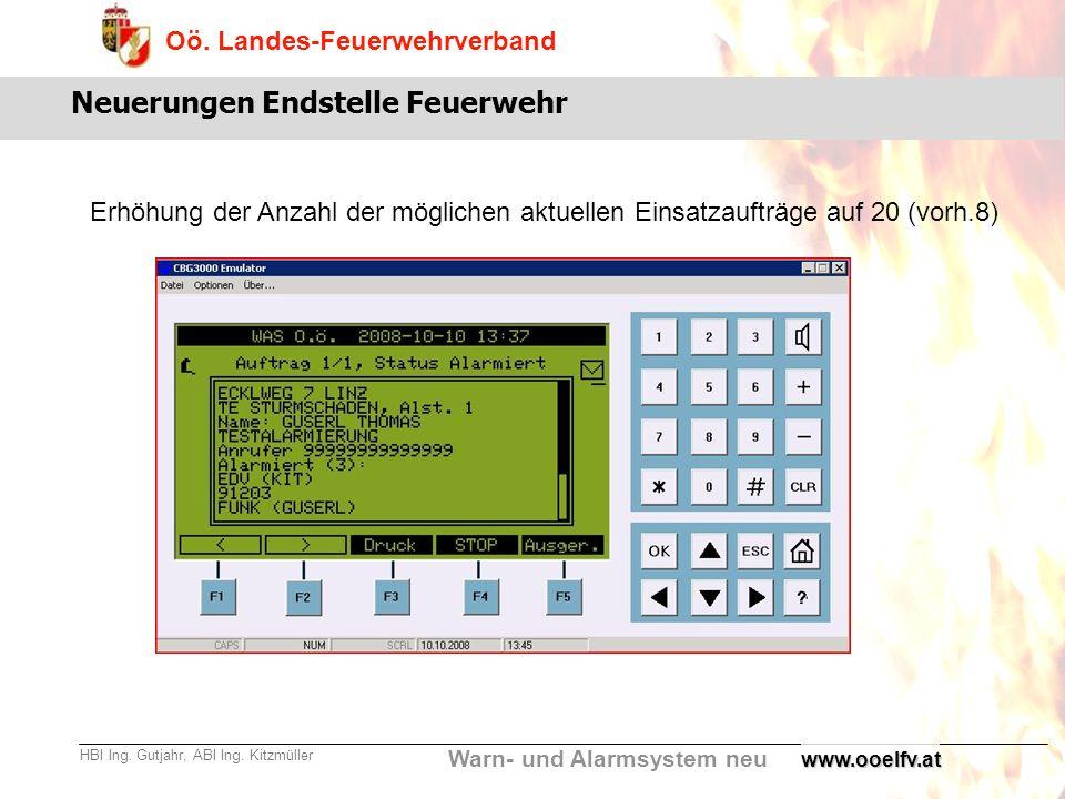 Warn- und Alarmsystem neu Oö. Landes-Feuerwehrverband HBI Ing. Gutjahr, ABI Ing. Kitzmüllerwww.ooelfv.at Neuerungen Endstelle Feuerwehr Erhöhung der A