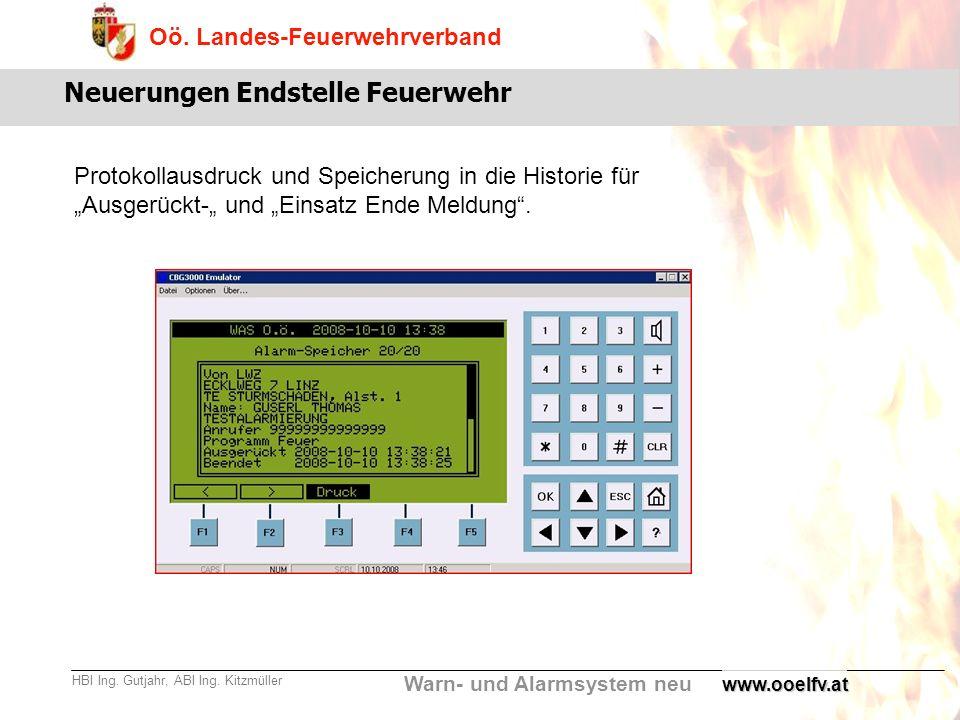Warn- und Alarmsystem neu Oö. Landes-Feuerwehrverband HBI Ing. Gutjahr, ABI Ing. Kitzmüllerwww.ooelfv.at Neuerungen Endstelle Feuerwehr Protokollausdr