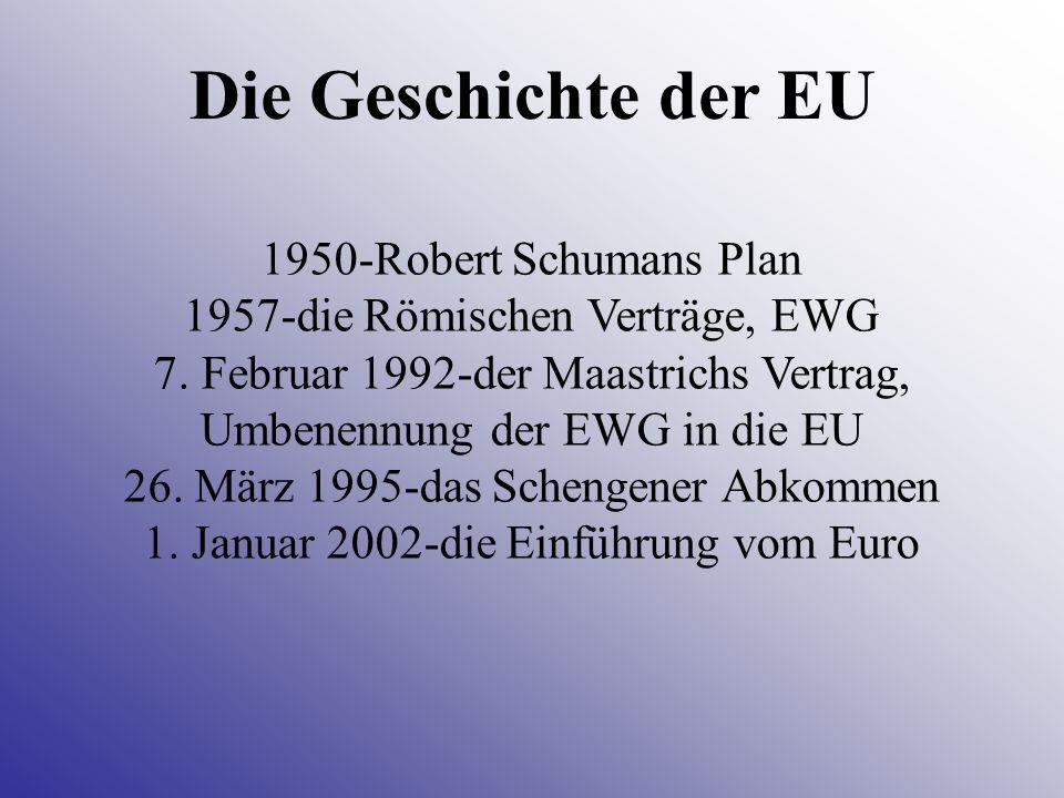 1950-Robert Schumans Plan 1957-die Römischen Verträge, EWG 7. Februar 1992-der Maastrichs Vertrag, Umbenennung der EWG in die EU 26. März 1995-das Sch