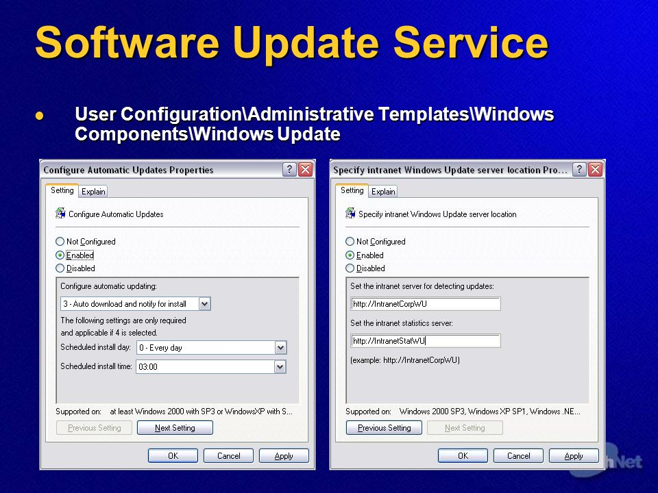 User Configuration\Administrative Templates\Windows Components\Windows Update User Configuration\Administrative Templates\Windows Components\Windows Update
