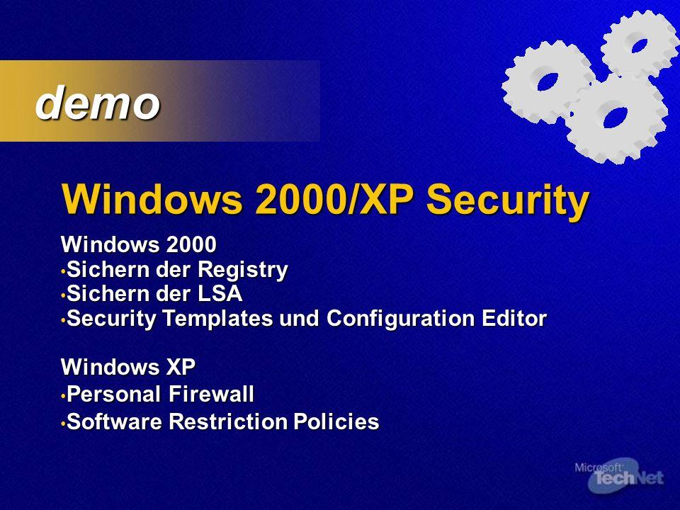 Security Tools Hfnetchk überprüft Machinen auf installierte Patches überprüft Machinen auf installierte Patches Command Line Tool Command Line Tool Netzwerkfähig - Admin Rechte Netzwerkfähig - Admin Rechte Überprüft Status Überprüft Status Windows NT 4.0 / 2000 Windows NT 4.0 / 2000 SQL 7.0/2000 SQL 7.0/2000 System Dienste System Dienste IE 5.01 und höher IE 5.01 und höher Q303215 – Download Q303215 – Download -nosum Parameter für lokalisierte Server -nosum Parameter für lokalisierte Server