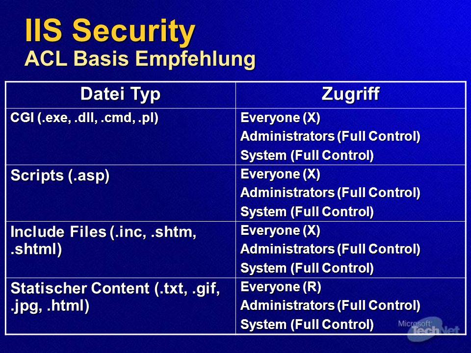 Erstellen der Verzeichnisstruktur nach Dateityp Erstellen der Verzeichnisstruktur nach Dateityp ACLs auf die Verzeichnisse effektiver als ACLs auf die einzelnen Dateien ACLs auf die Verzeichnisse effektiver als ACLs auf die einzelnen Dateien bei SMTP oder FTP Nutzung beschränken des Zugriffs via ACLs bei SMTP oder FTP Nutzung beschränken des Zugriffs via ACLs C:\inetpub\ftproot C:\inetpub\ftproot C:\inetpub\mailroot C:\inetpub\mailroot IIS Security Empfehlung für virtuelle Verzeichnisse
