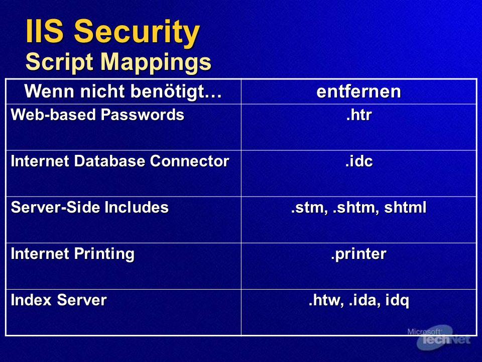 IIS Security Beispiel Applikationen Beispiel Applikation Virtuelles Verzeichnis Physikalisches Verzeichnis IIS Samples \IISSamplesc:\inetpub\iissamples IIS Documentation \IISHelpc:\winnt\help\iishelp Data Access \MSADC C:\program files\common files\system\Msadc