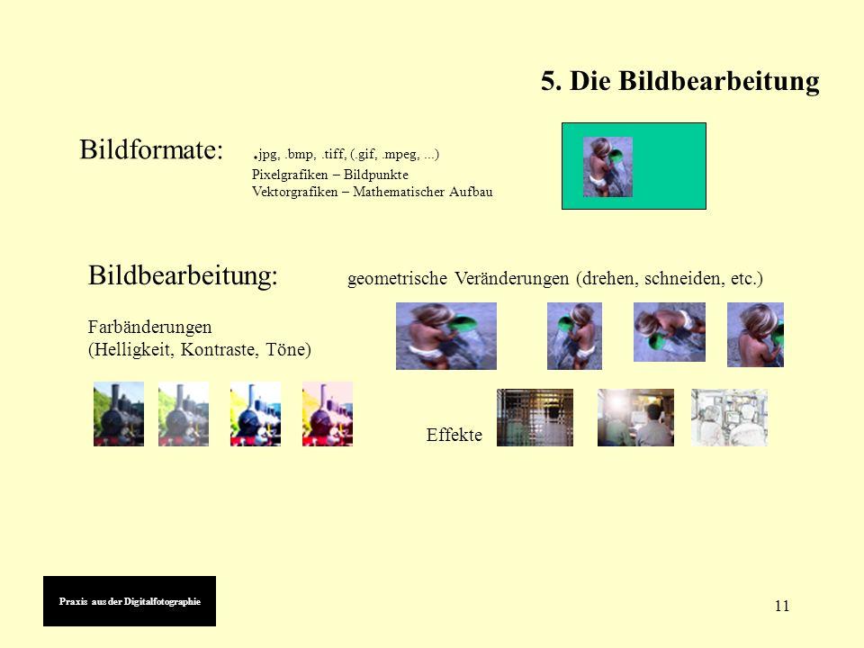 11 5. Die Bildbearbeitung Praxis aus der Digitalfotographie Bildformate:.