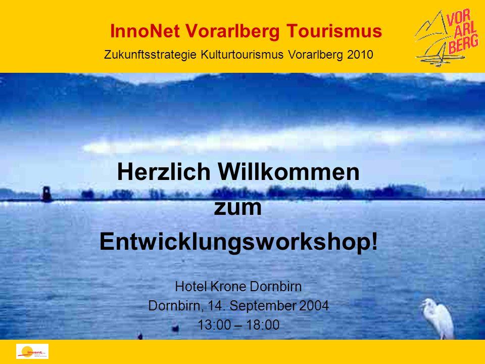 InnoNet Vorarlberg Tourismus Herzlich Willkommen zum Entwicklungsworkshop! Hotel Krone Dornbirn Dornbirn, 14. September 2004 13:00 – 18:00 Zukunftsstr