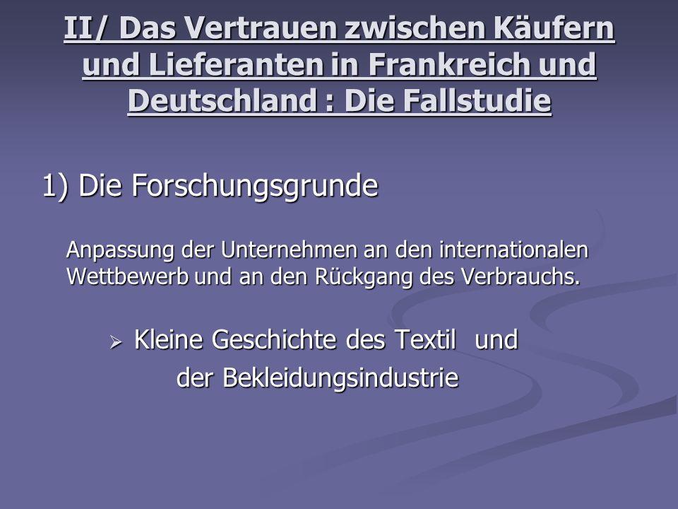 II/ Das Vertrauen zwischen Käufern und Lieferanten in Frankreich und Deutschland : Die Fallstudie 1) Die Forschungsgrunde Anpassung der Unternehmen an