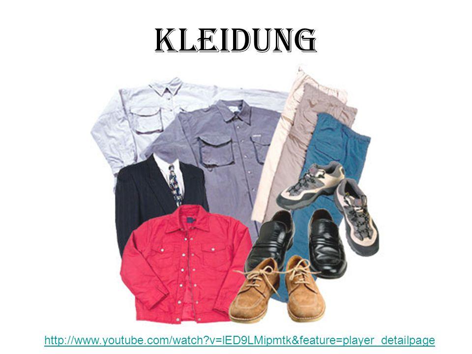 Vokabeln der Anzug, esuit die Auswahlselection, choice der Badeanzugswimsuit die Bluse, -nblouse der Mantel, ecoat der Pulli, -ssweater, pullover der Pulloversweater, pullover der Rock, eskirt der Schuh, -eshoe die Socke, -nsock der Strumpf, estocking der Stiefelboot das Sweatshirt, -ssweatshirt das T-Shirt, -sT-shirt der Tennisschuh, -etennis (athletic) shoe