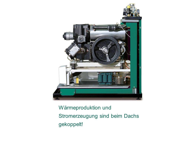 Das Prinzip der Kraft-Wärme- Kopplung: Wärmeproduktion und Stromerzeugung sind beim Dachs gekoppelt!