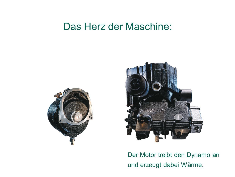 Der Motor treibt den Dynamo an und erzeugt dabei Wärme. Das Herz der Maschine: