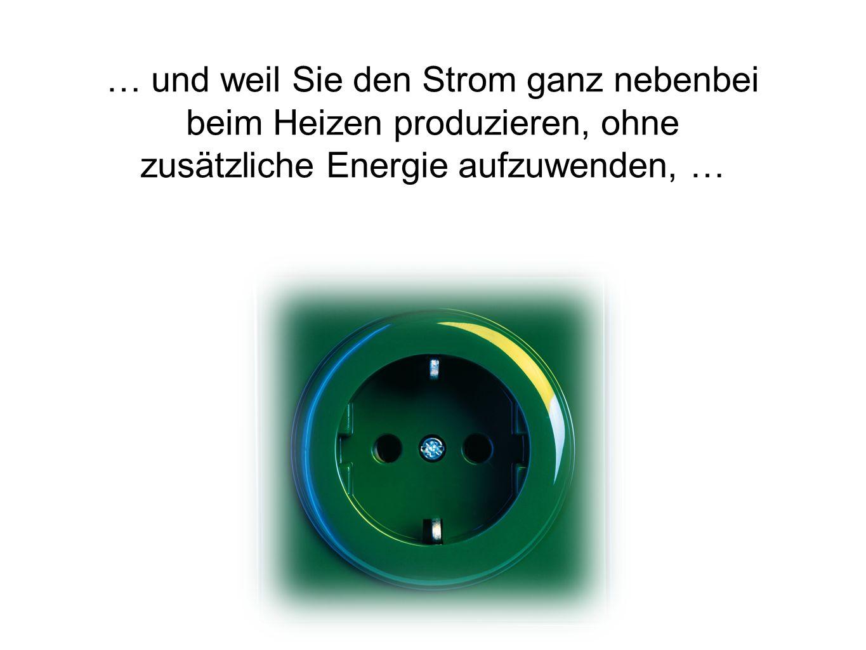 … und weil Sie den Strom ganz nebenbei beim Heizen produzieren, ohne zusätzliche Energie aufzuwenden, …