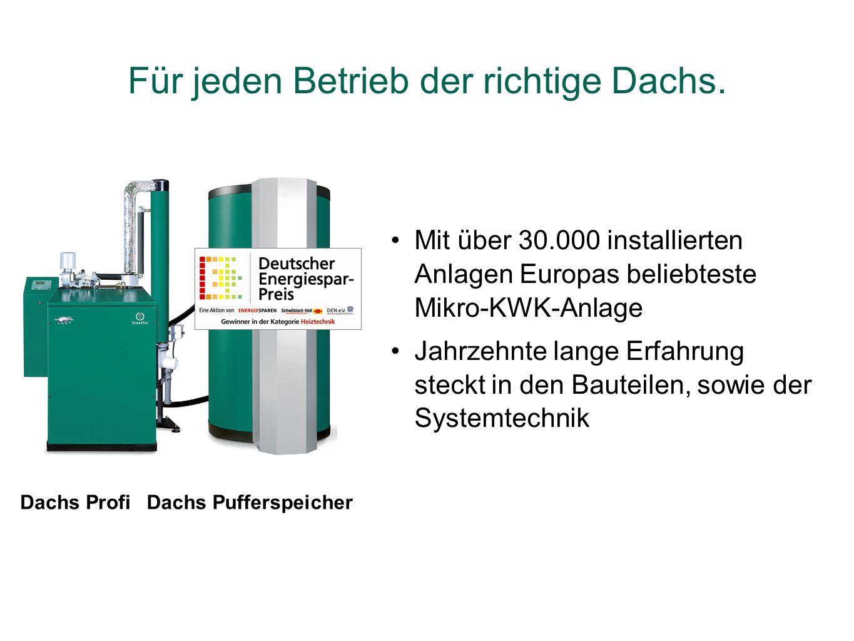 Dachs ProfiDachs Pufferspeicher Mit über 30.000 installierten Anlagen Europas beliebteste Mikro-KWK-Anlage Jahrzehnte lange Erfahrung steckt in den Ba