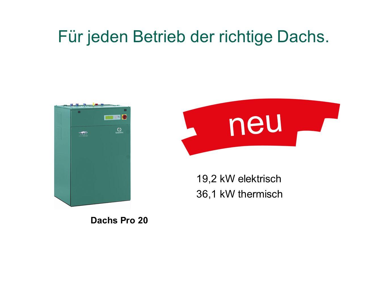 Dachs Pro 20 neu 19,2 kW elektrisch 36,1 kW thermisch Für jeden Betrieb der richtige Dachs.