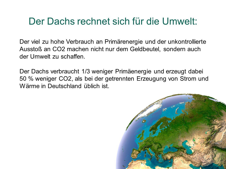 Der Dachs rechnet sich für die Umwelt: Der viel zu hohe Verbrauch an Primärenergie und der unkontrollierte Ausstoß an CO2 machen nicht nur dem Geldbeu