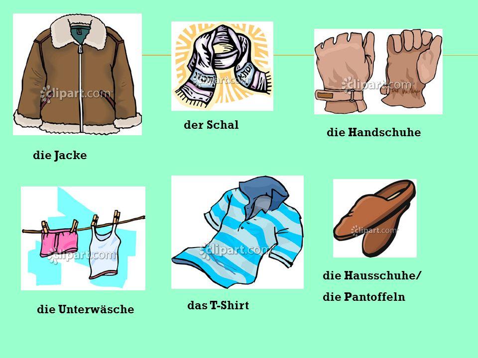 die Jacke der Schal die Unterwäsche das T-Shirt die Handschuhe die Hausschuhe/ die Pantoffeln