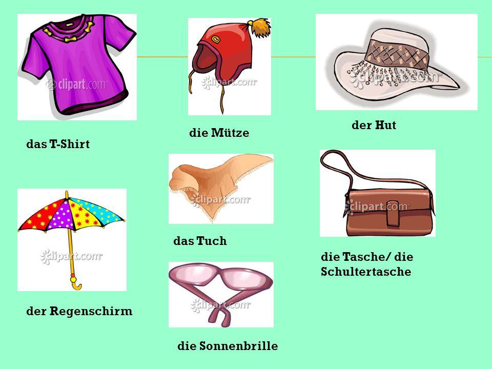 das T-Shirt der Regenschirm die Mütze das Tuch die Sonnenbrille der Hut die Tasche/ die Schultertasche