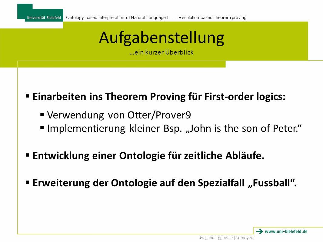 Ontology-based Interpretation of Natural Language II - Resolution-based theorem proving dwigand   ggoetze   semeyerz Manuel Neuer Aufbau Aufgabenstellung Manuel Neuer is the goalkeeper of Bayern München.