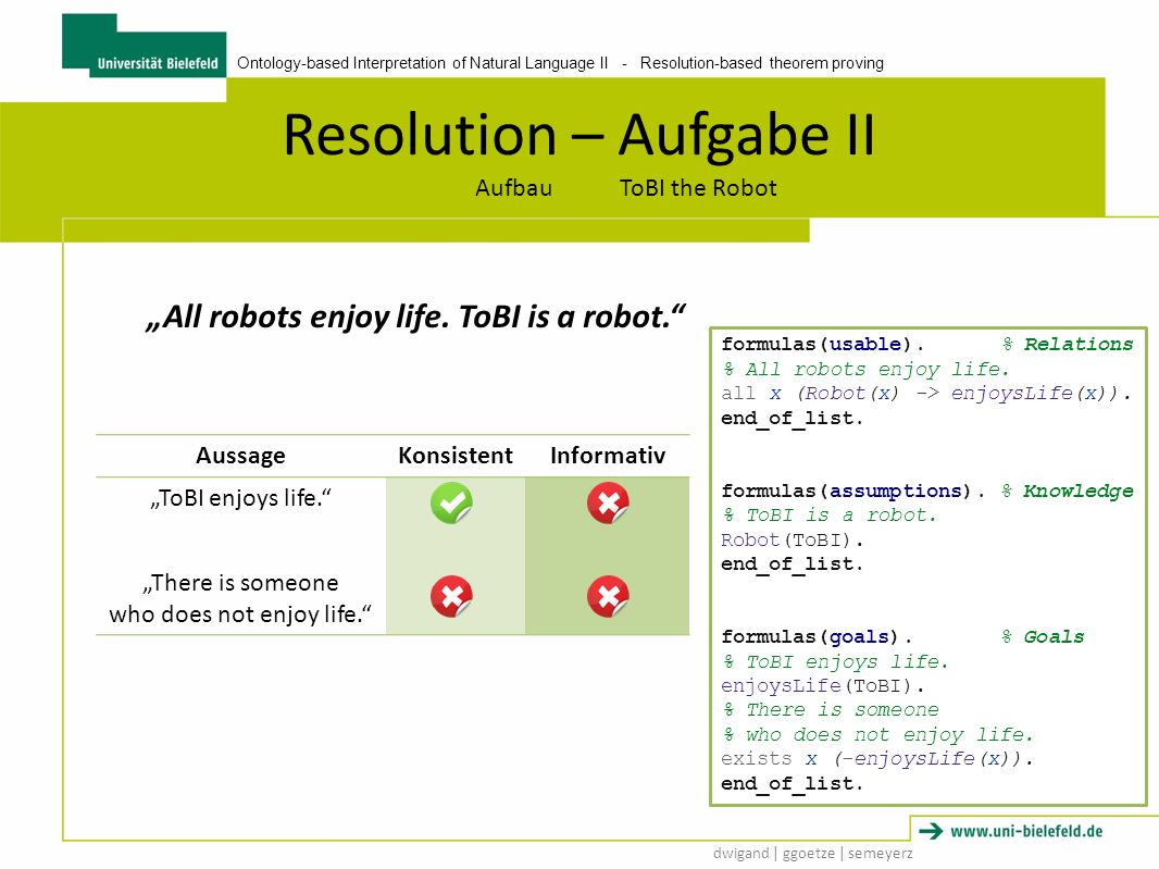 Ontology-based Interpretation of Natural Language II - Resolution-based theorem proving dwigand | ggoetze | semeyerz Resolution – Aufgabe II Aufbau ToBI the Robot All robots enjoy life.