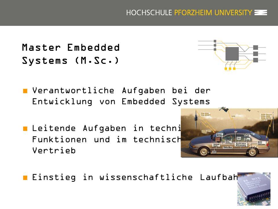22 Master Embedded Systems (M.Sc.) Verantwortliche Aufgaben bei der Entwicklung von Embedded Systems Leitende Aufgaben in technischen Funktionen und im technischen Vertrieb Einstieg in wissenschaftliche Laufbahnen