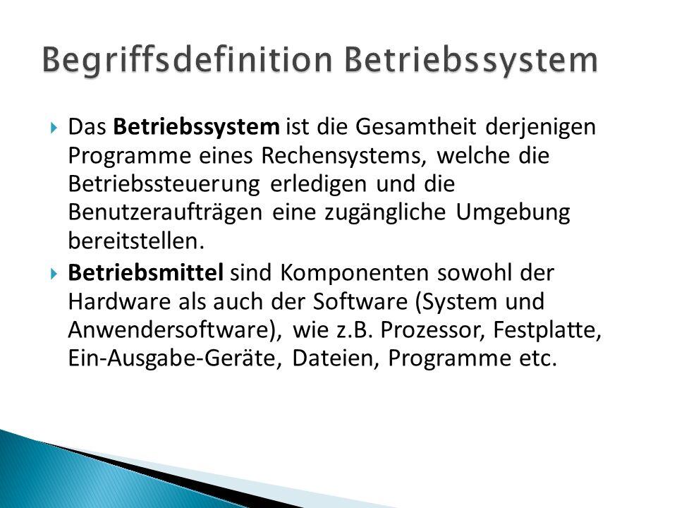 Das Betriebssystem ist die Gesamtheit derjenigen Programme eines Rechensystems, welche die Betriebssteuerung erledigen und die Benutzeraufträgen eine zugängliche Umgebung bereitstellen.