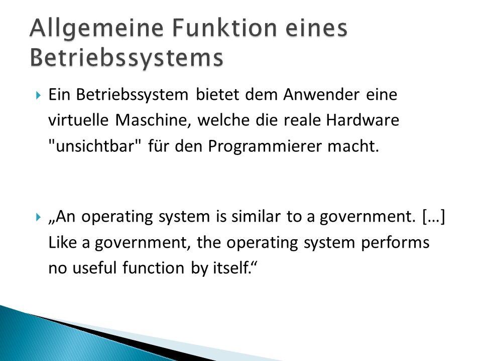 Ein Betriebssystem bietet dem Anwender eine virtuelle Maschine, welche die reale Hardware