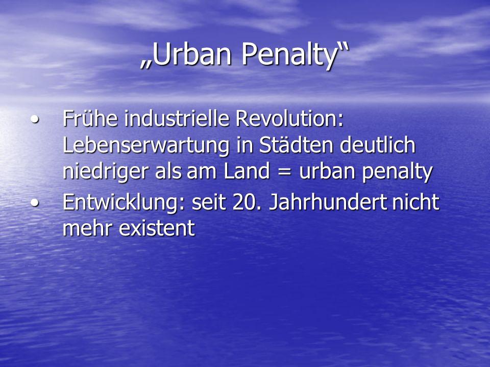Urban Penalty Frühe industrielle Revolution: Lebenserwartung in Städten deutlich niedriger als am Land = urban penaltyFrühe industrielle Revolution: Lebenserwartung in Städten deutlich niedriger als am Land = urban penalty Entwicklung: seit 20.