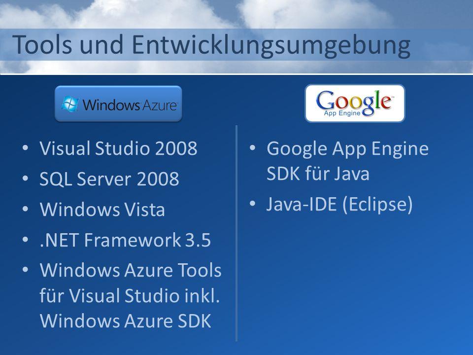Tools und Entwicklungsumgebung Visual Studio 2008 SQL Server 2008 Windows Vista.NET Framework 3.5 Windows Azure Tools für Visual Studio inkl. Windows