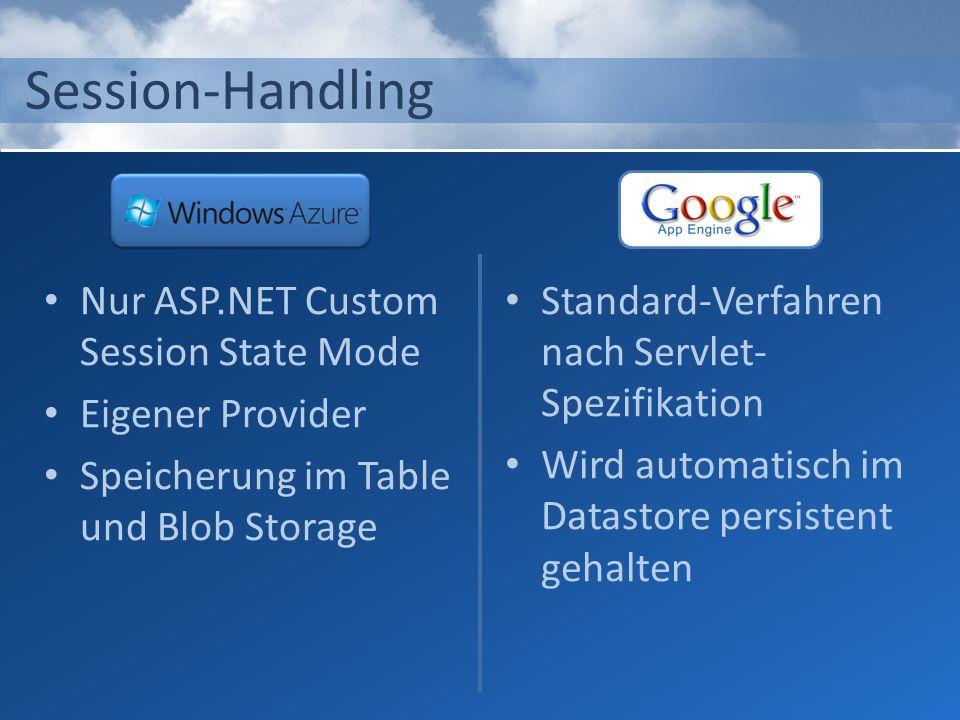 Session-Handling Nur ASP.NET Custom Session State Mode Eigener Provider Speicherung im Table und Blob Storage Standard-Verfahren nach Servlet- Spezifi