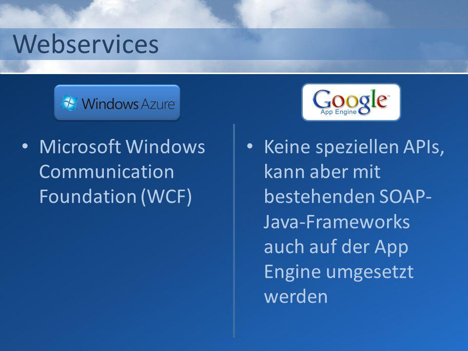 Webservices Microsoft Windows Communication Foundation (WCF) Keine speziellen APIs, kann aber mit bestehenden SOAP- Java-Frameworks auch auf der App E