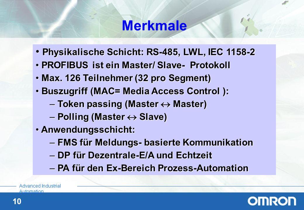 10 Advanced Industrial Automation Merkmale Physikalische Schicht: RS-485, LWL, IEC 1158-2 Physikalische Schicht: RS-485, LWL, IEC 1158-2 PROFIBUS ist