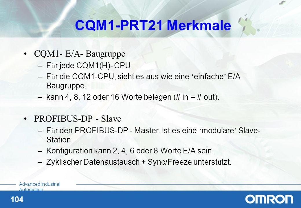 104 Advanced Industrial Automation CQM1-PRT21 Merkmale CQM1- E/A- Baugruppe –F ü r jede CQM1(H)- CPU. –F ü r die CQM1-CPU, sieht es aus wie eine einfa