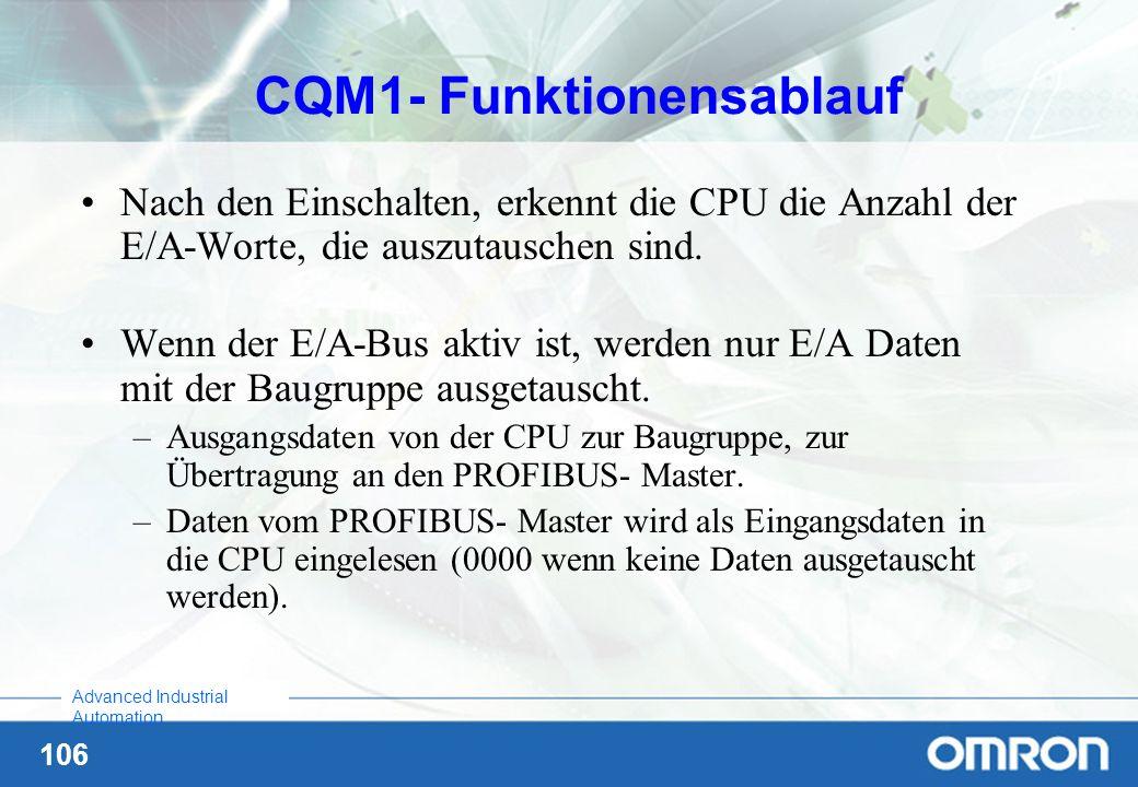 106 Advanced Industrial Automation CQM1- Funktionensablauf Nach den Einschalten, erkennt die CPU die Anzahl der E/A-Worte, die auszutauschen sind. Wen