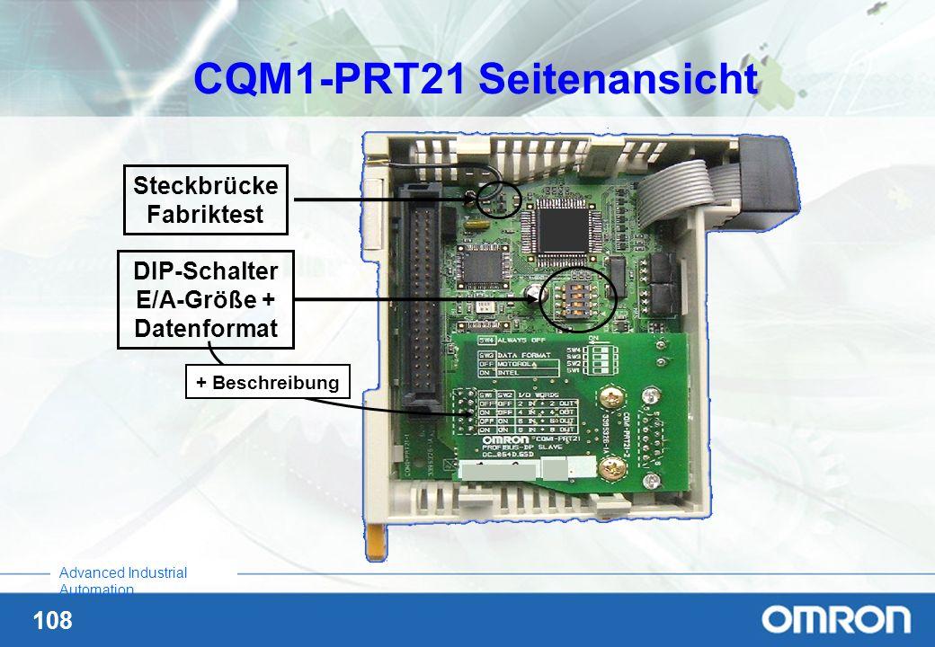 108 Advanced Industrial Automation CQM1-PRT21 Seitenansicht Steckbrücke Fabriktest DIP-Schalter E/A-Größe + Datenformat + Beschreibung