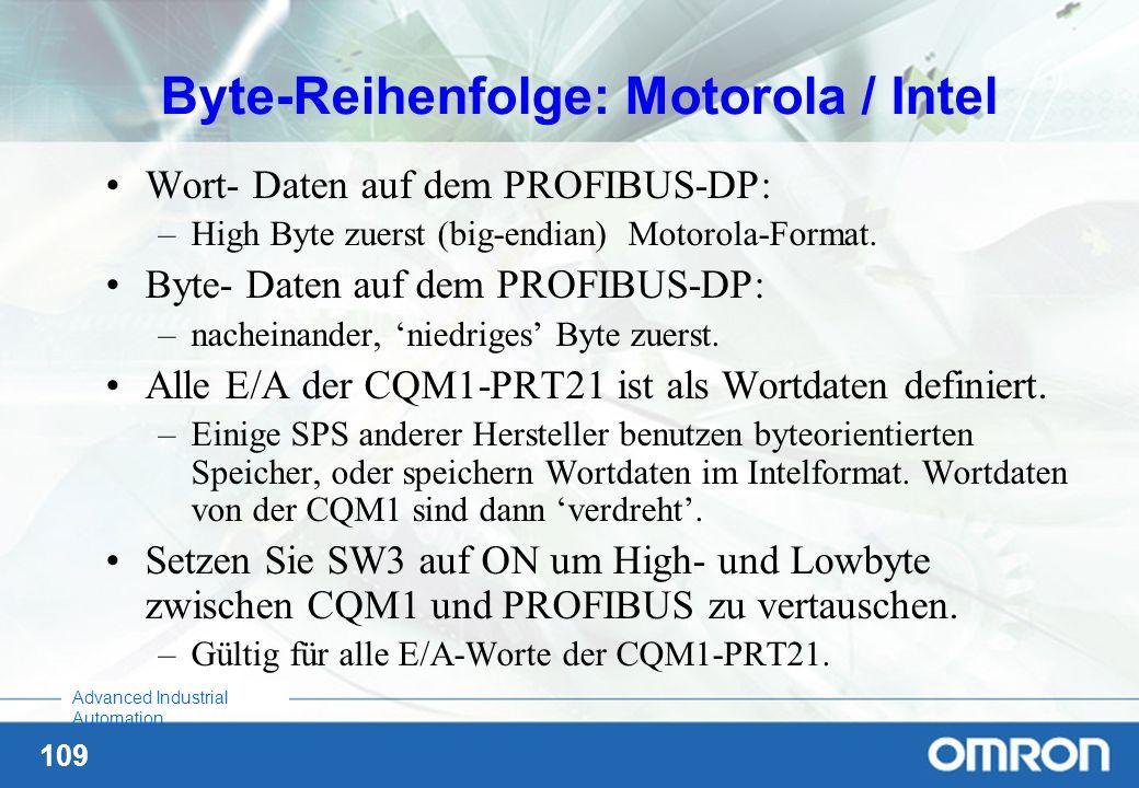 109 Advanced Industrial Automation Byte-Reihenfolge: Motorola / Intel Wort- Daten auf dem PROFIBUS-DP: –High Byte zuerst (big-endian) Motorola-Format.