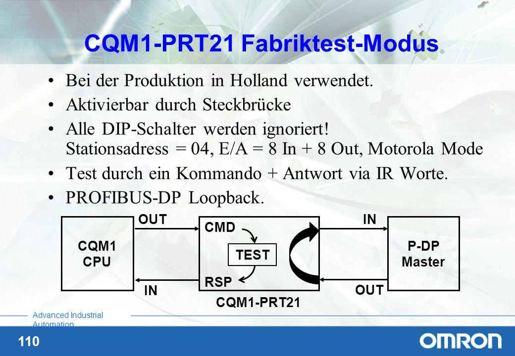 110 Advanced Industrial Automation CQM1-PRT21 Fabriktest-Modus Bei der Produktion in Holland verwendet. Aktivierbar durch Steckbrücke Alle DIP-Schalte
