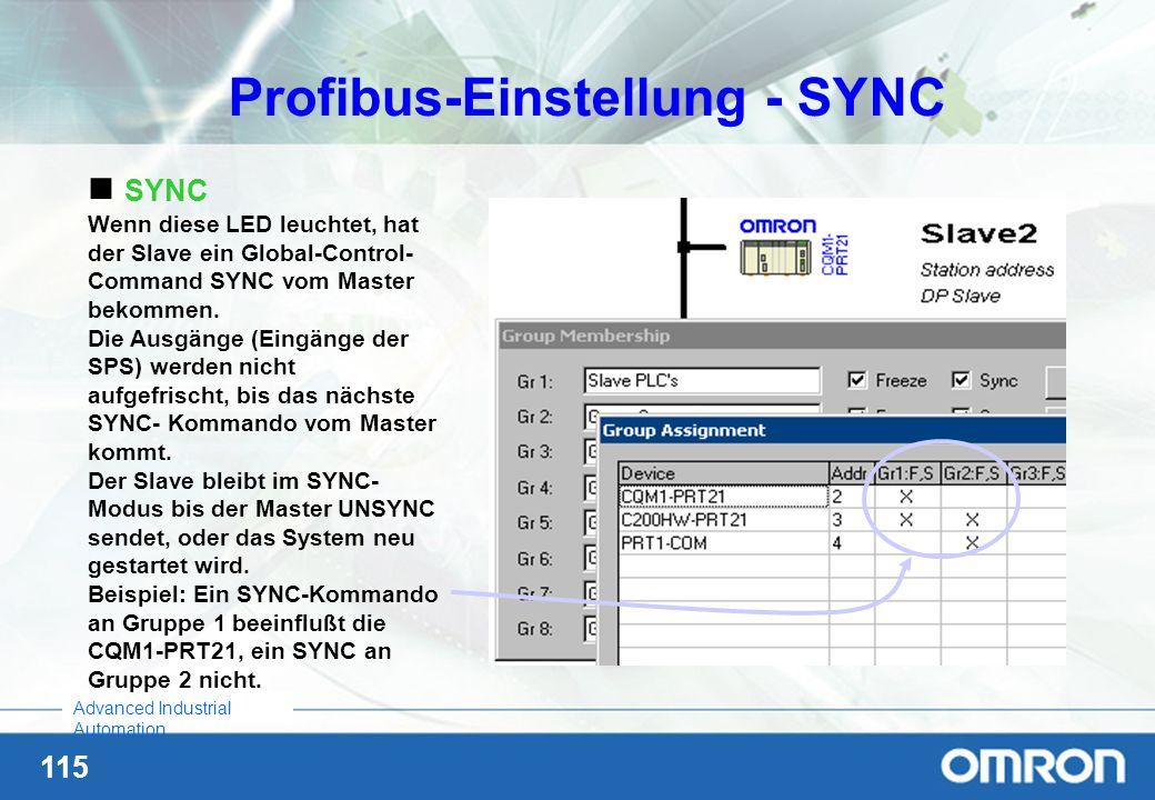 115 Advanced Industrial Automation Profibus-Einstellung - SYNC SYNC Wenn diese LED leuchtet, hat der Slave ein Global-Control- Command SYNC vom Master