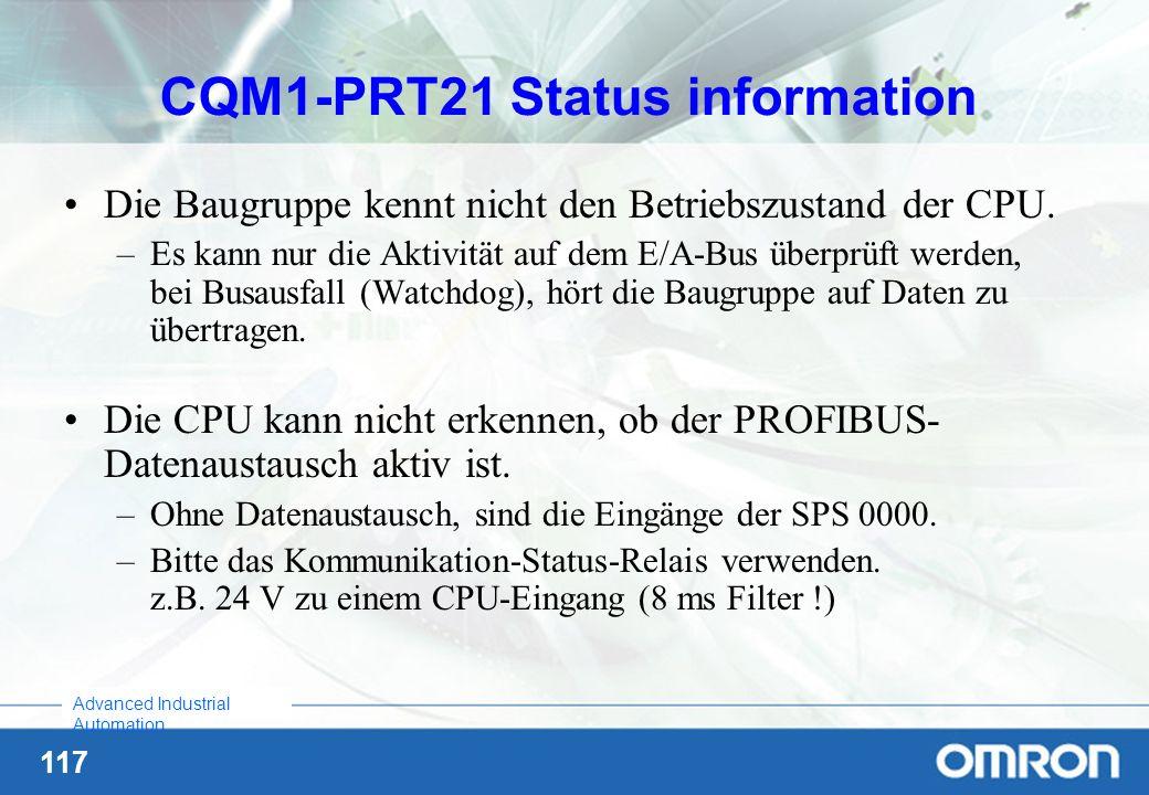 117 Advanced Industrial Automation CQM1-PRT21 Status information Die Baugruppe kennt nicht den Betriebszustand der CPU. –Es kann nur die Aktivität auf