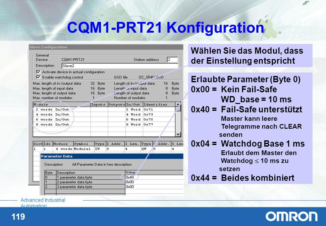 119 Advanced Industrial Automation CQM1-PRT21 Konfiguration Wählen Sie das Modul, dass der Einstellung entspricht Erlaubte Parameter (Byte 0) 0x00 = K