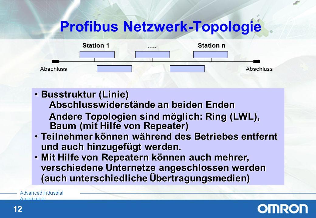 12 Advanced Industrial Automation Profibus Netzwerk-Topologie Busstruktur (Linie)Busstruktur (Linie) Abschlusswiderstände an beiden Enden Andere Topol