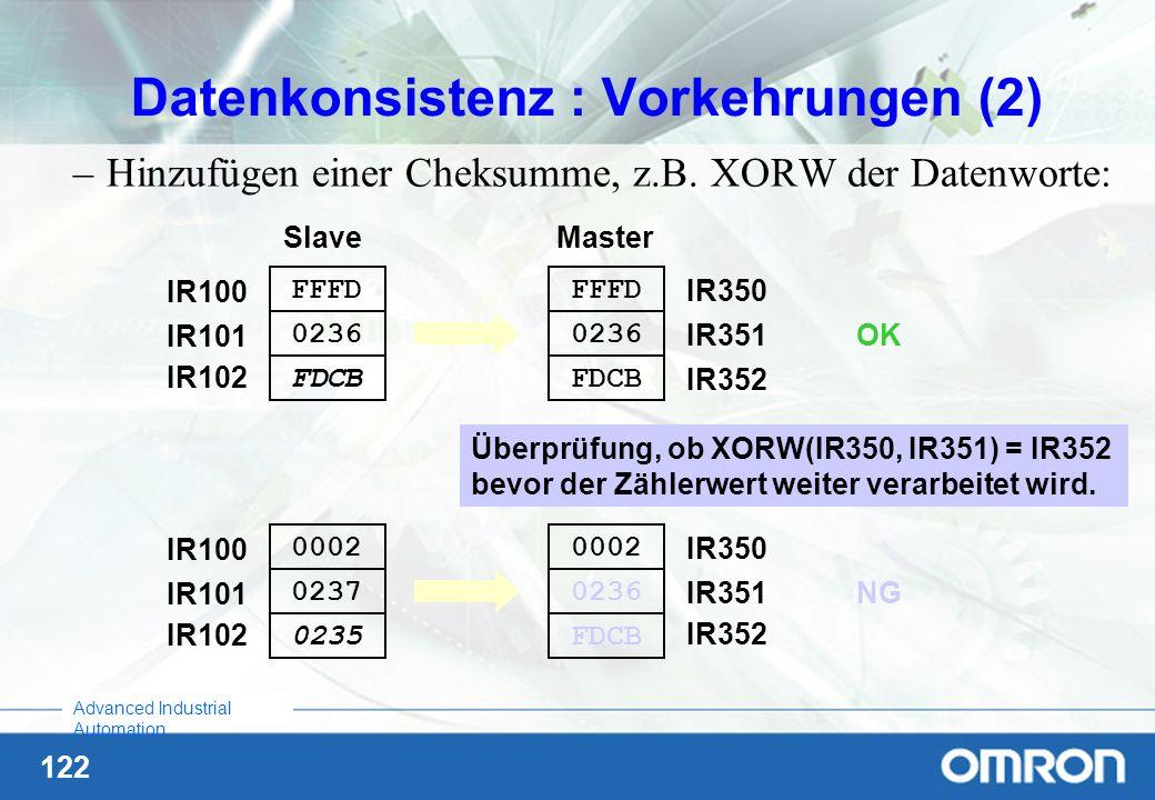 122 Advanced Industrial Automation Datenkonsistenz : Vorkehrungen (2) –Hinzufügen einer Cheksumme, z.B. XORW der Datenworte: IR100 IR101 FFFD 0236 Mas