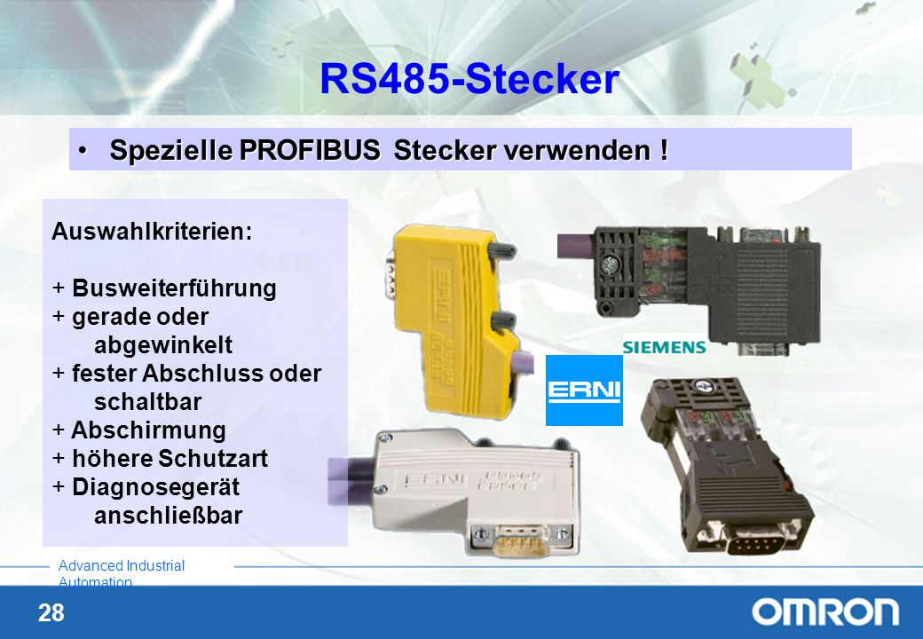 28 Advanced Industrial Automation Spezielle PROFIBUS Stecker verwenden !Spezielle PROFIBUS Stecker verwenden .