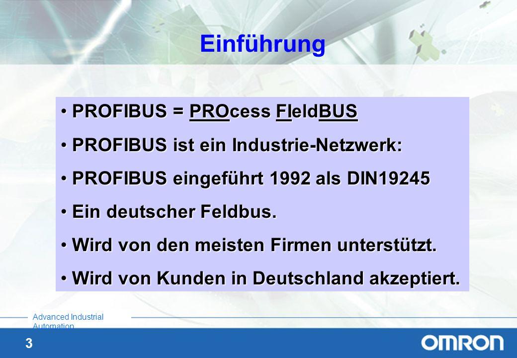3 Advanced Industrial Automation Einführung PROFIBUS = PROcess FIeldBUS PROFIBUS = PROcess FIeldBUS PROFIBUS ist ein Industrie-Netzwerk: PROFIBUS ist