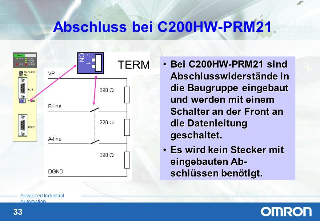 33 Advanced Industrial Automation Bei C200HW-PRM21 sind Abschlusswiderstände in die Baugruppe eingebaut und werden mit einem Schalter an der Front an