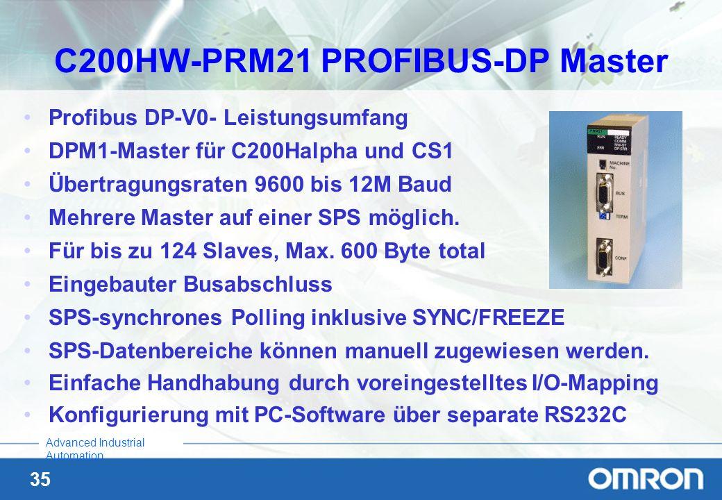 35 Advanced Industrial Automation Profibus DP-V0- Leistungsumfang DPM1-Master für C200Halpha und CS1 Übertragungsraten 9600 bis 12M Baud Mehrere Maste