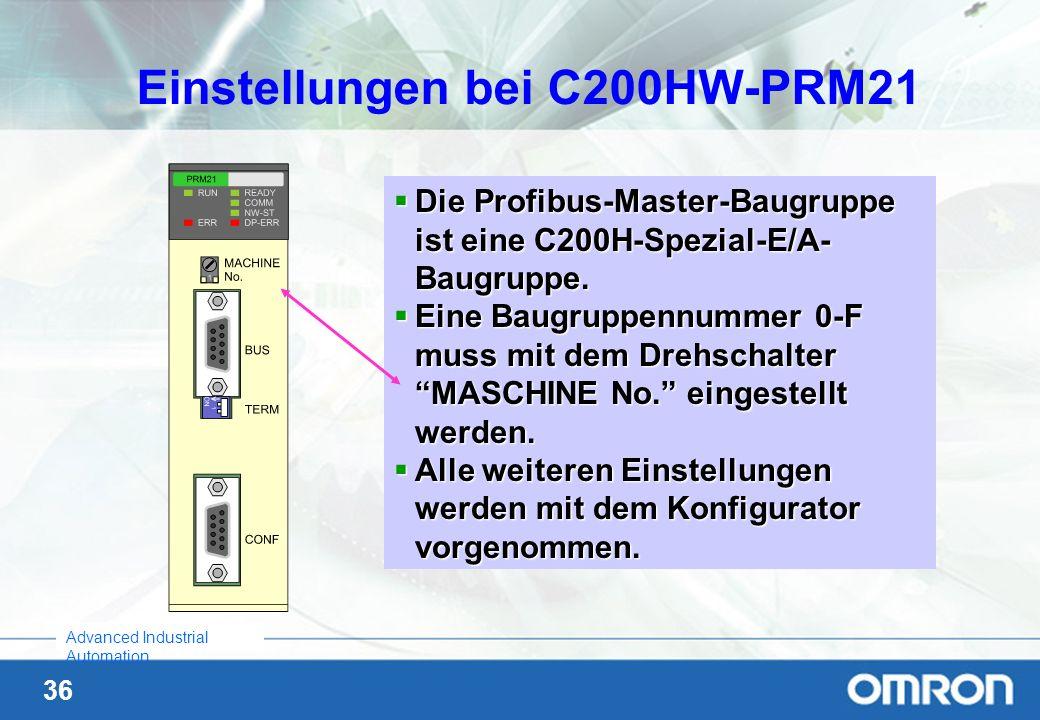 36 Advanced Industrial Automation Einstellungen bei C200HW-PRM21 Die Profibus-Master-Baugruppe ist eine C200H-Spezial-E/A- Baugruppe. Die Profibus-Mas