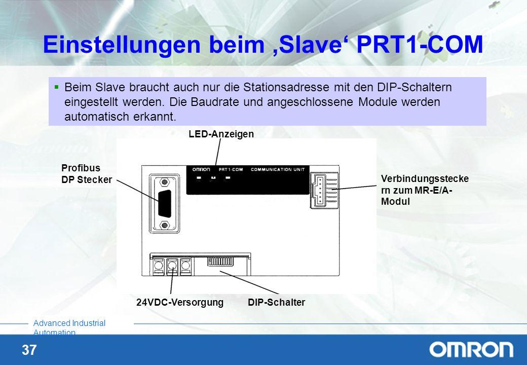 37 Advanced Industrial Automation Einstellungen beim Slave PRT1-COM Beim Slave braucht auch nur die Stationsadresse mit den DIP-Schaltern eingestellt