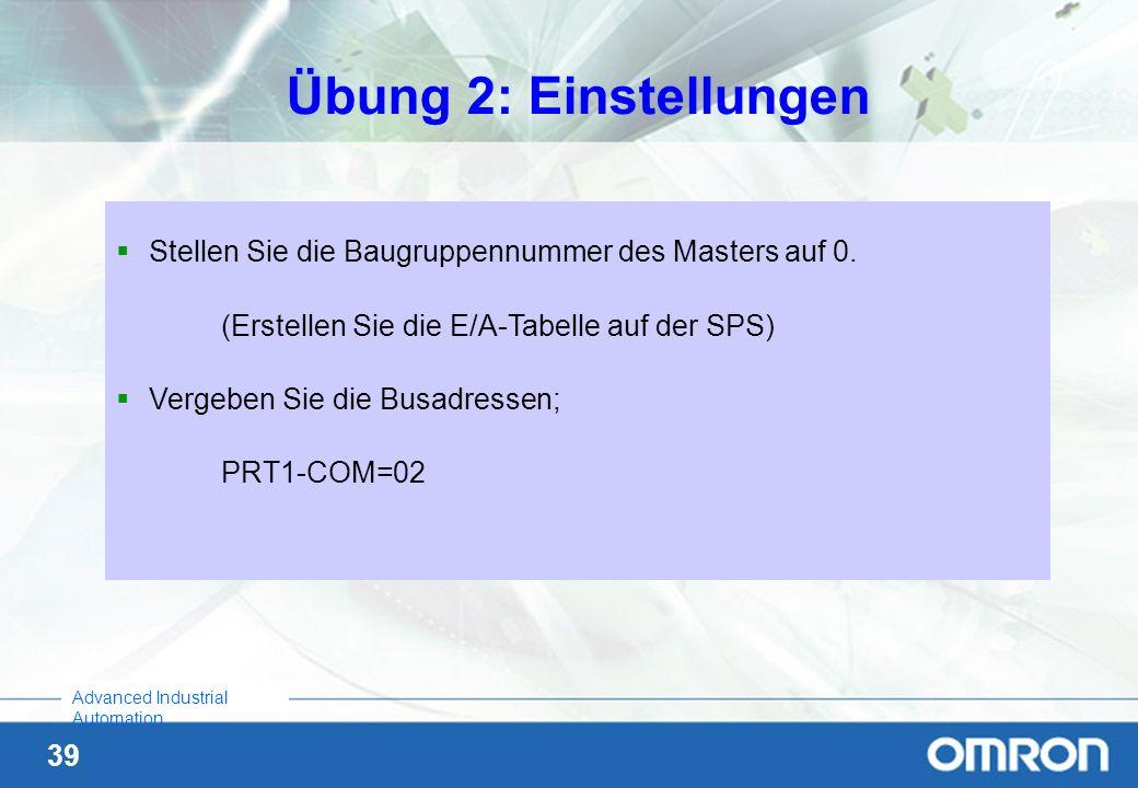 39 Advanced Industrial Automation Übung 2: Einstellungen Stellen Sie die Baugruppennummer des Masters auf 0. (Erstellen Sie die E/A-Tabelle auf der SP