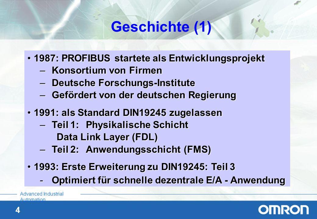 4 Advanced Industrial Automation Geschichte (1) 1987: PROFIBUS startete als Entwicklungsprojekt1987: PROFIBUS startete als Entwicklungsprojekt –Konsor